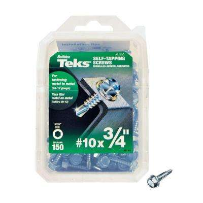 #10 x 3/4 in. External Hex Flange Hex-Head Self-Drilling Screws (150-Pack)