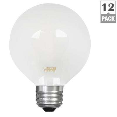 25W Equivalent Soft White (2700K) G25 Dimmable Filament LED Frosted Glass Light Bulb (Case of 12)