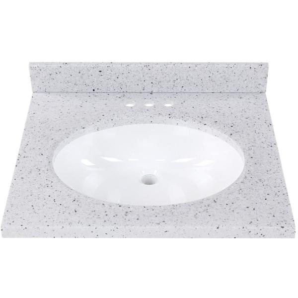 25 in. Solid Surface Vanity Top in Silver Ash with White Sink