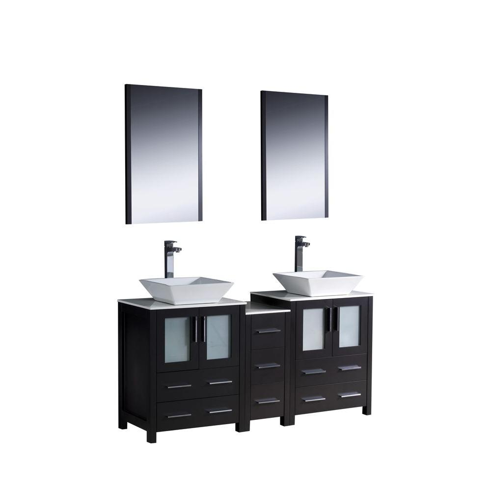 Fresca Torino 60 in. Double Vanity in Espresso with Glass Stone Vanity Top in White with White Basins and Mirrors