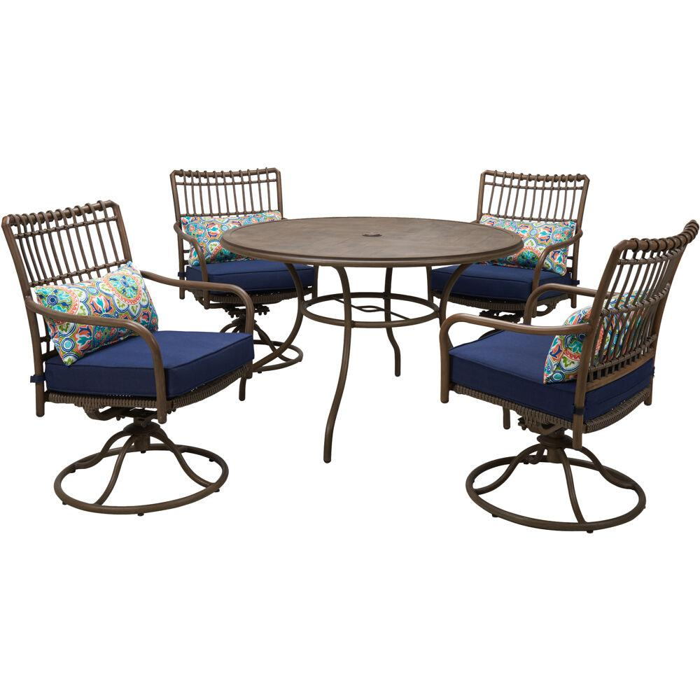 Hanover Summerland Faux Wood 5 Piece Aluminum Round Outdoor Dining Set With Navy Cushions 4 Swivel Rockers And A 48 In Table