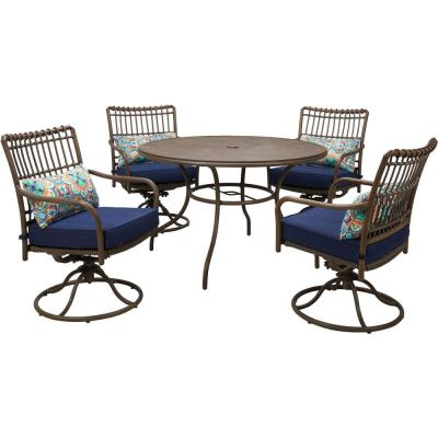 Summerland Faux-Wood 5-Piece Aluminum Round Outdoor Dining Set with Navy Cushions, 4 Swivel Rockers and a 48 in. Table