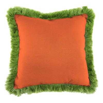 Sunbrella Canvas Tuscan Square Outdoor Throw Pillow with Gingko Fringe