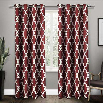 Ironwork 52 in. W x 96 in. L Woven Blackout Grommet Top Curtain Panel in Burgundy (2 Panels)