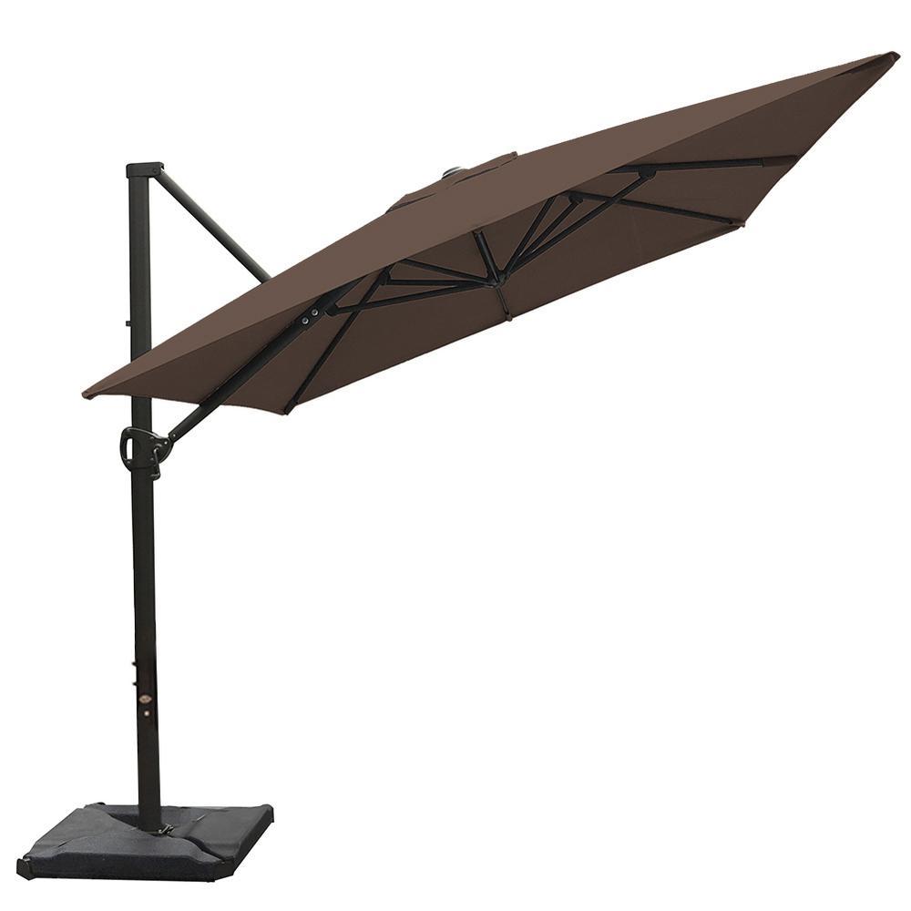 8 ft. x 10 ft. Rectangular Cantilever Push Tilt Patio Umbrella in Cocoa