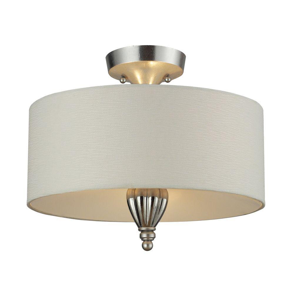 Titan Lighting Martique 3-Light Chrome and Silver Leaf Ceiling Semi-Flush Mount Light