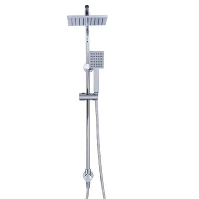 Modern Wall Bar Shower Kit 1-Spray 8 in. Square Rain Shower Head with Hand Shower in Chrome (Valve Not Included)