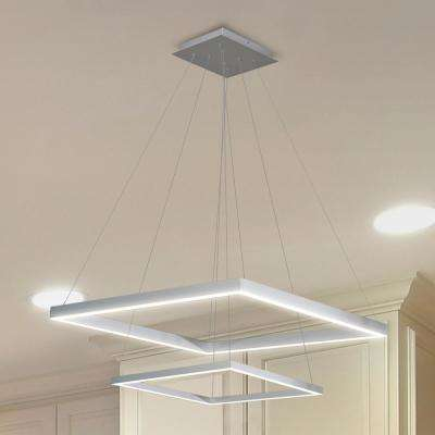 Atria Duo 55-Watt 20 in. Silver Integrated LED Adjustable Modern 2-Tier Square Chandelier