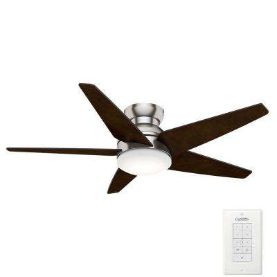 Isotope 52 in. Indoor Brushed Nickel Ceiling Fan with 4 Speed Wall Mount Remote