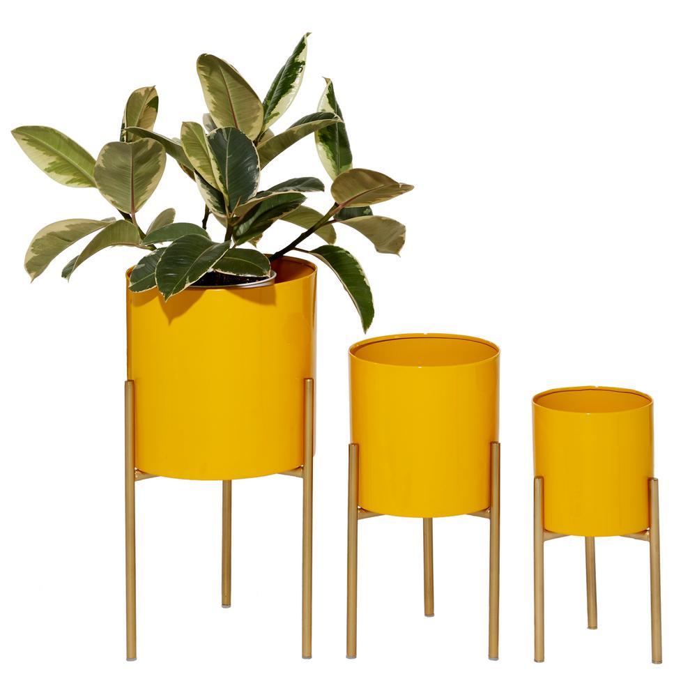 """Mustard Round Metal Indoor Planters, Set Of 3: 12"""", 14"""", 18"""""""