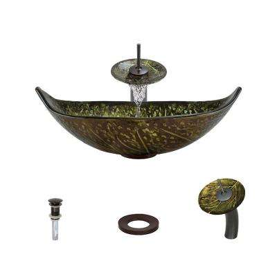Glass Vessel Sink in Green and Brown Foil Undertone with Waterfall Faucet and Pop-Up Drain in Oil Rubbed Bronze