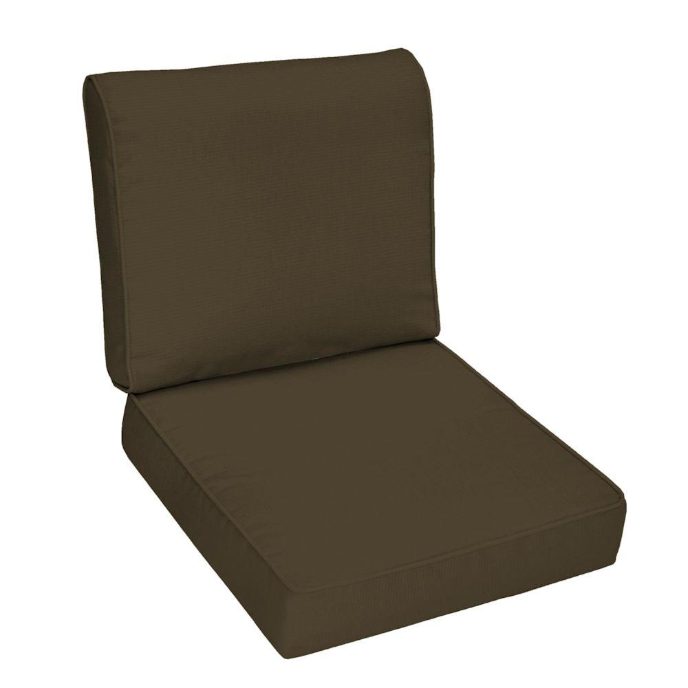 Hampton Bay Java Texture Outdoor Deep Seat Cushion Set-DISCONTINUED
