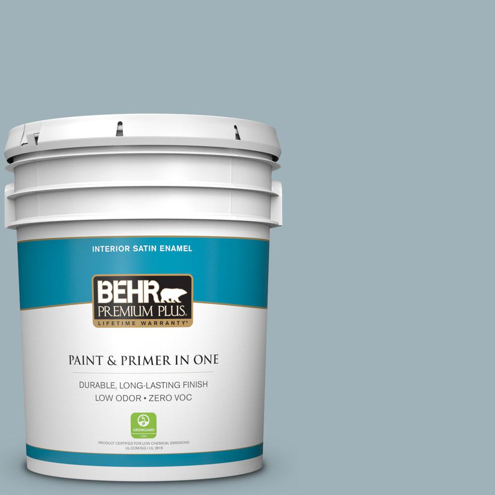 BEHR Premium Plus 5 gal. #540E-3 Blue Fox Satin Enamel Zero VOC Interior Paint and Primer in One
