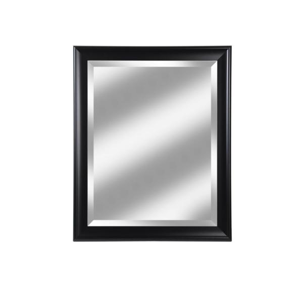 Medium Rectangle Black Matte Beveled Glass Contemporary Mirror (34 in. H x 28 in. W)