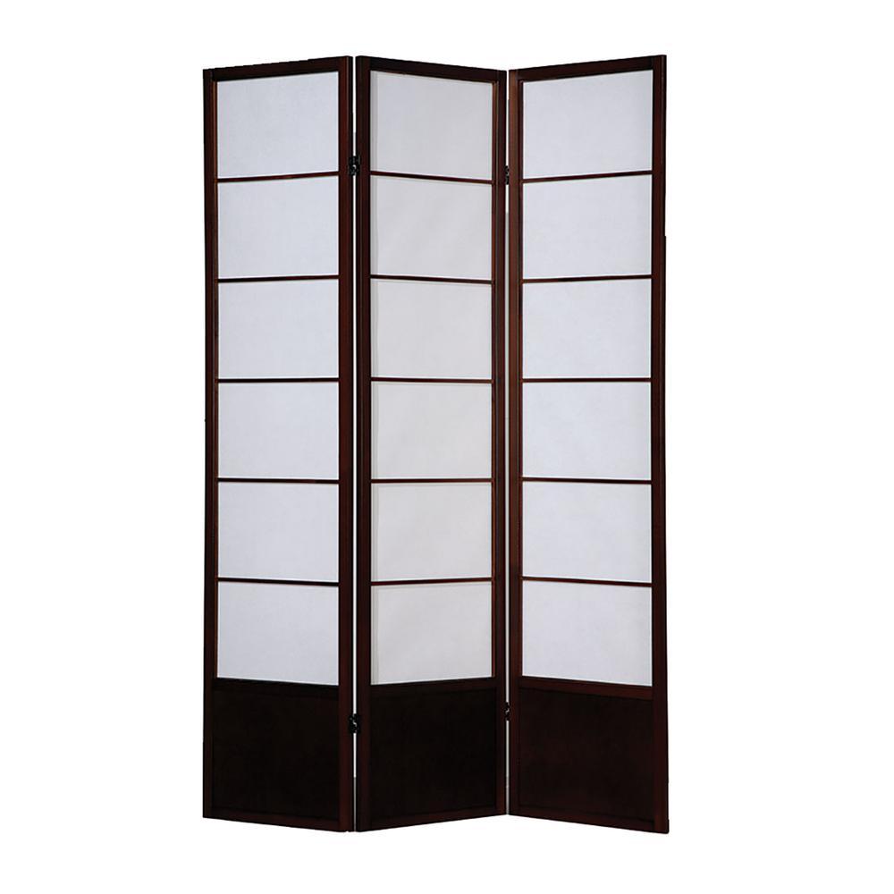 Shoji Wooden Screen 6 ft. Brown 3-Panel Room Divider