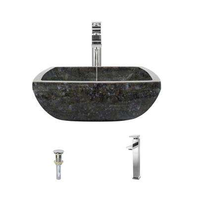 Stone Vessel Sink in Butterfly Blue Granite with 721 Faucet and Pop-Up Drain in Chrome