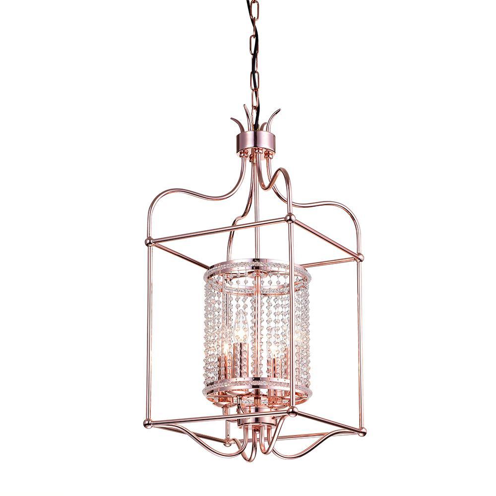 Dafne 16 in. 4-Light Indoor Rose Gold Pendant Lamp with Light Kit