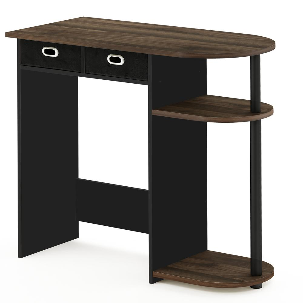 Furinno Go Green Columbia Walnut Computer Desk With Bin Drawer