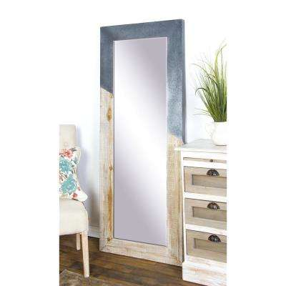 Rectangular Distressed Blue and Beige Door/Wall Mirror