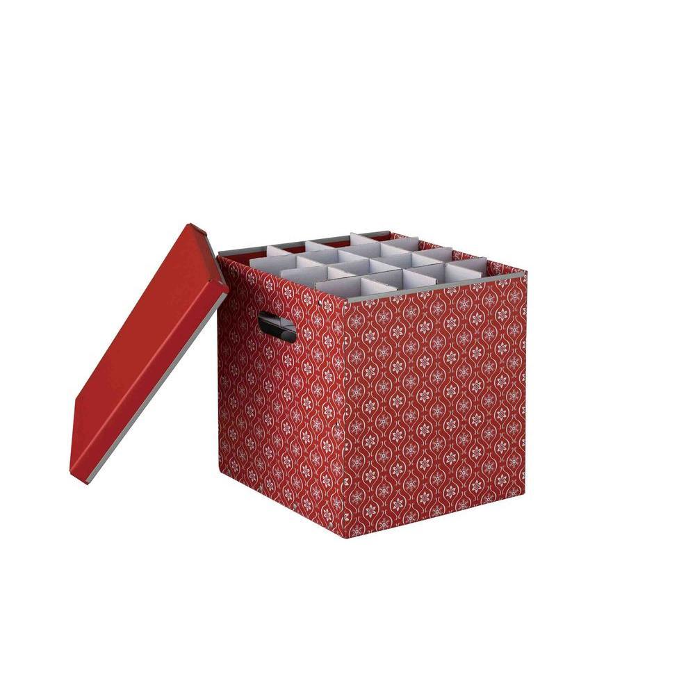 Holiday Cardboard 64-Compartment Ornament Storage Box