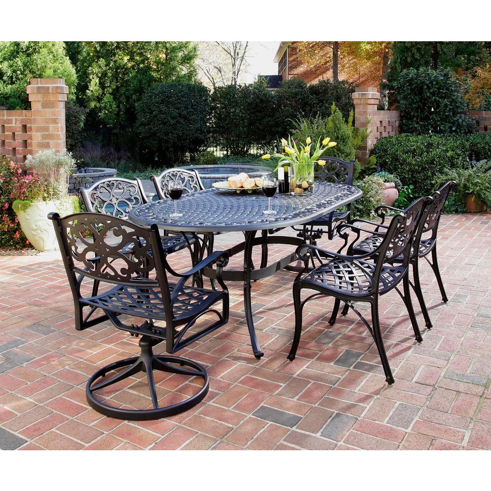 Biscayne black 7 piece patio dining set 4 stationary 2 motion