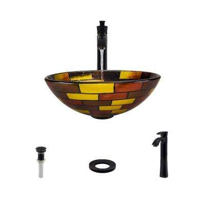 Glass Vessel Sink in Stained Glass with 726 Faucet and Pop-Up Drain in Antique Bronze
