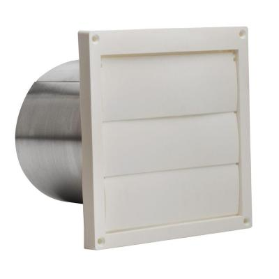Plastic Louvered Wall Cap for 6 in. Round Duct in White