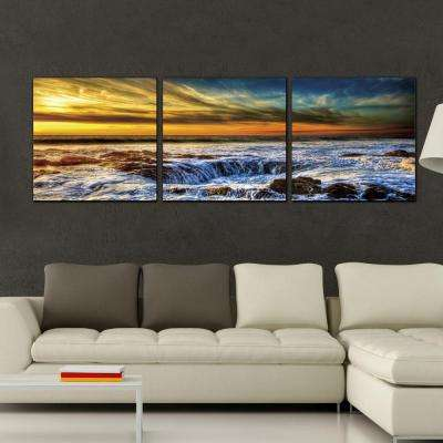 "24 in. x 72 in. ""Sky and Beach"" Printed Wall Art"
