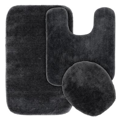 Traditional Dark Gray 3-Piece Washable Bathroom Rug Set