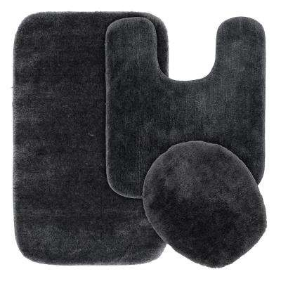 Traditional 3 Piece Washable Bathroom Rug Set in Dark Gray