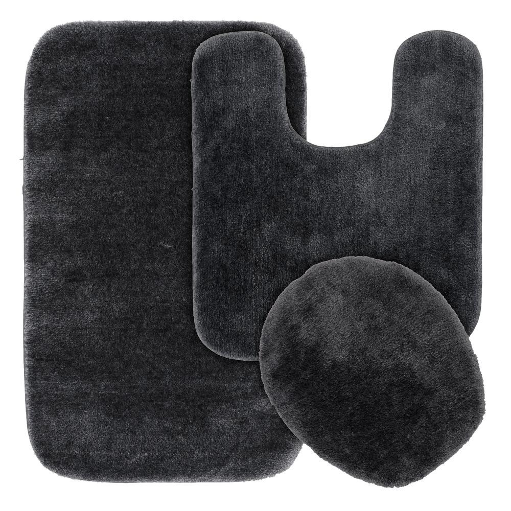 Traditional 3 Piece Washable Bathroom Rug Set in Dark Gray