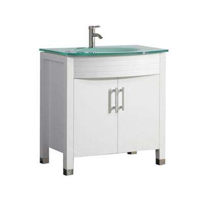 Fort 32 in. W x 21 in. D x 36 in. H Vanity in White with Glass Vanity Top in Glass with Glass Basin