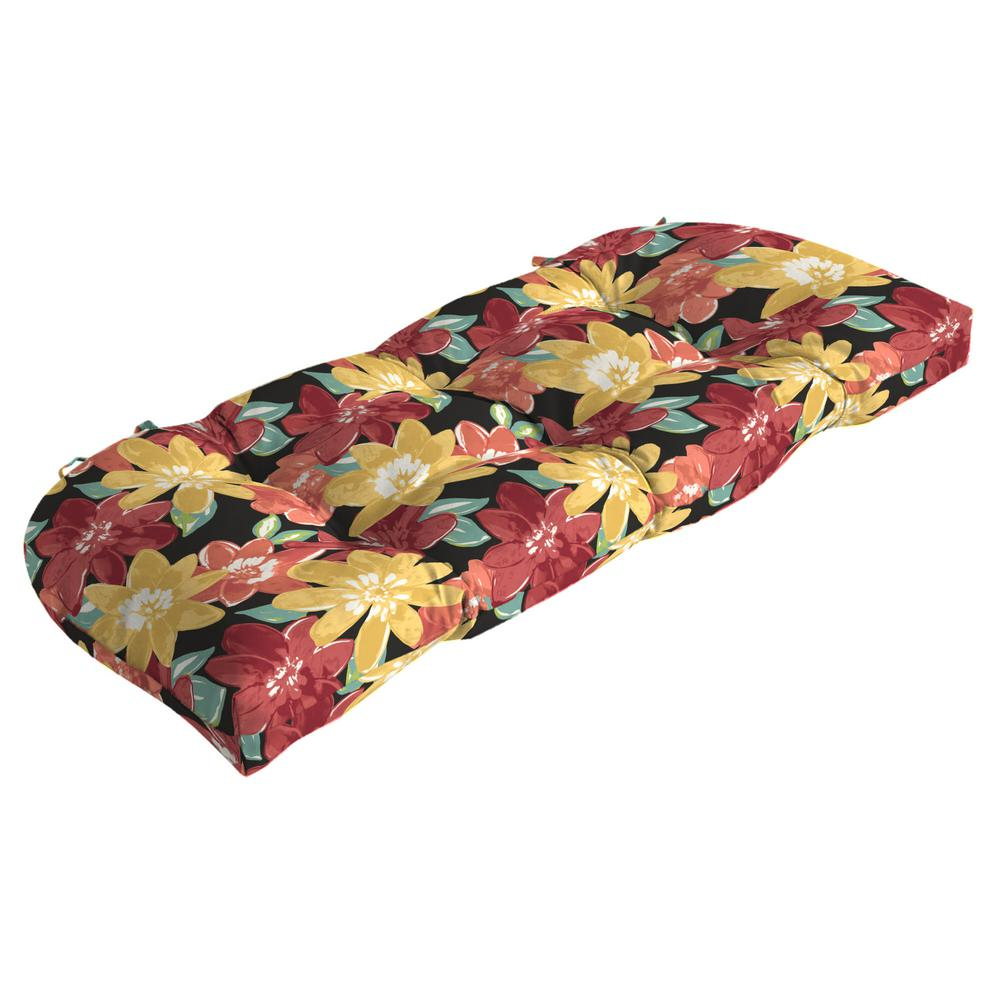Arden Selections 41.5 in. x 18 in. Ruby Abella Floral Countoured Tufted Outdoor Bench Cushion