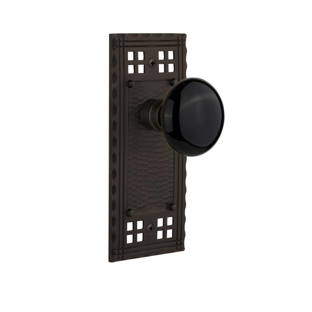 Craftsman Plate 2-3/8 in. Backset Oil-Rubbed Bronze Passage Hall/Closet Black