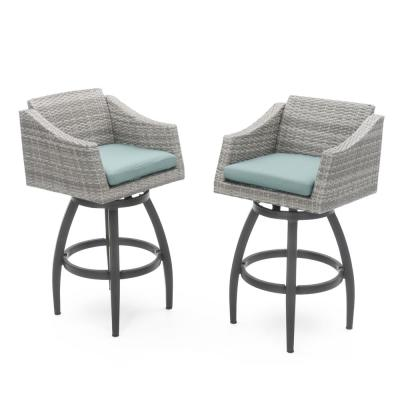 Cannes All-Weather Wicker Motion Patio Bar Stool with Spa Blue Cushions (2-Pack)