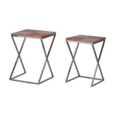Industrial Polished Silver Rectangle Side Table