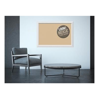 Blanco White Wood 40 in. x 28 in. Framed Beige Cork Board