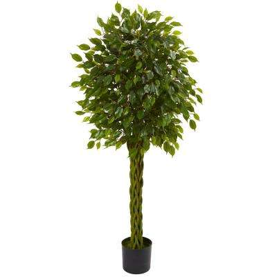 5 ft. UV Resistant Indoor/Outdoor Ficus Artificial Tree with Woven Trunk