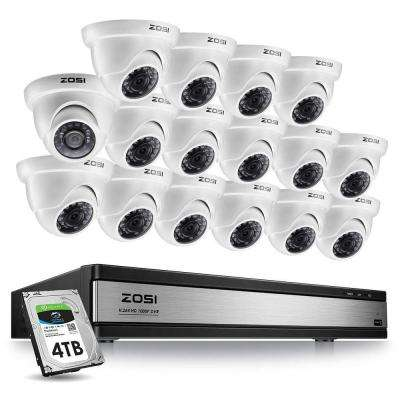 16-Channel 1080p 4TB DVR Security Camera System with 16 Wired Dome Cameras