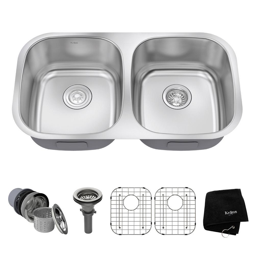 Kraus Undermount Stainless Steel 32 inch 50/50 Double Bowl Kitchen Sink Kit by KRAUS
