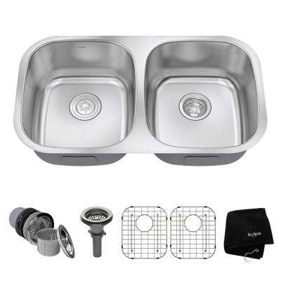 Undermount Stainless Steel 32 in. 50/50 Double Basin Kitchen Sink Kit