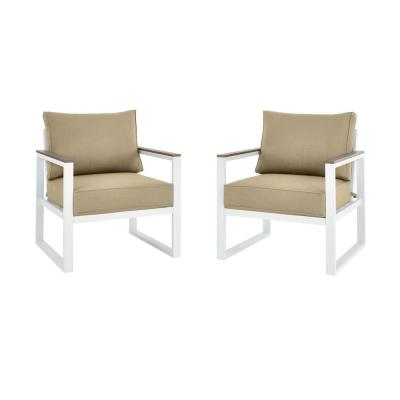 West Park White Aluminum Outdoor Patio Lounge Chair with CushionGuard Putty Tan Cushions (2-Pack)
