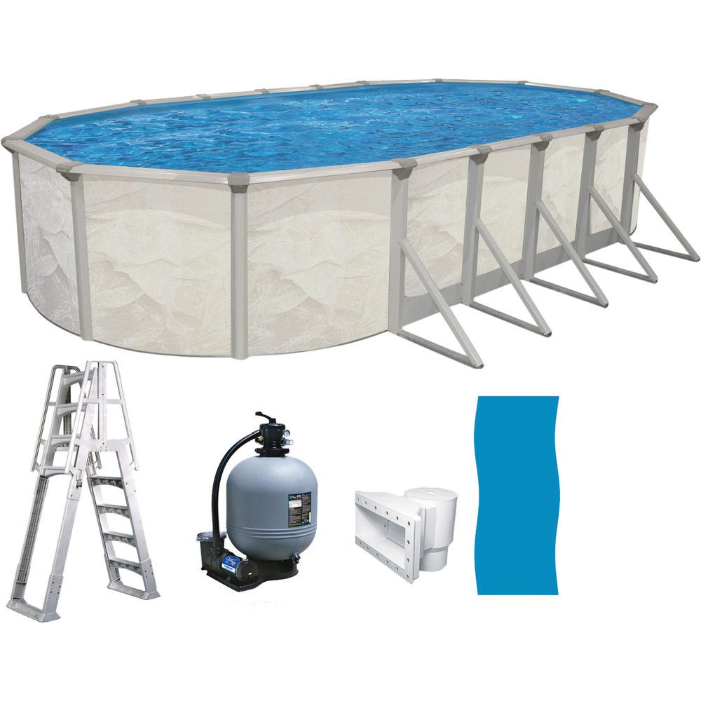 Independence 18 ft. x 33 ft. Oval x 52 in. Deep Hard Sided Above Ground  Pool Package with 6 in. Top Rail with entry ladder