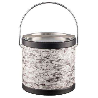 Amerillo Silver Stone 3 Qt. Gray Ice Bucket with Bale Handle and Metal Bar Lid