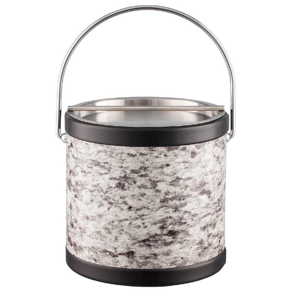Amerillo Silver Stone 3 Qt. Gray Ice Bucket with Bale Handle