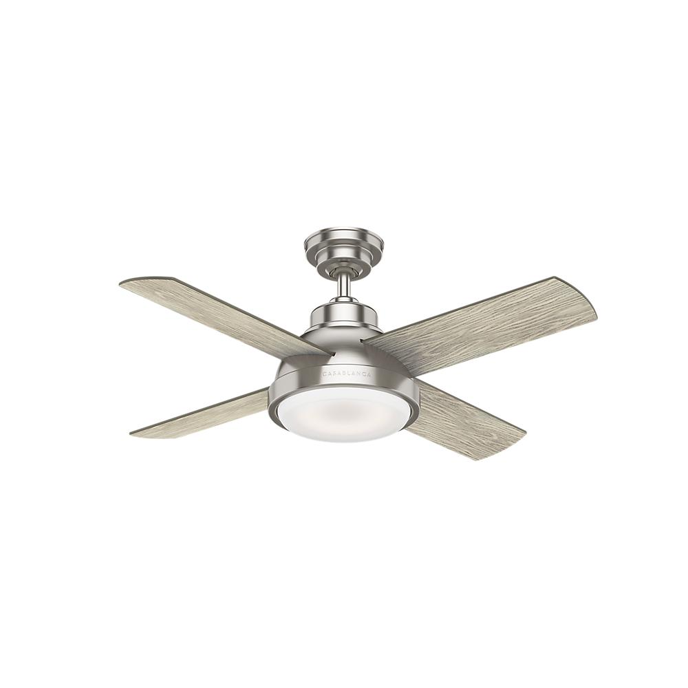 Casablanca Levitt 44 In Led Indoor Brushed Nickel Ceiling Fan With Light Kit And Handheld