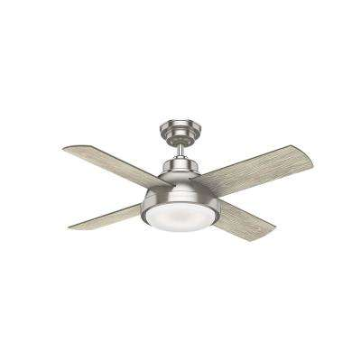 Levitt 44 in. LED Indoor Brushed Nickel Ceiling Fan with Light Kit and Handheld Remote