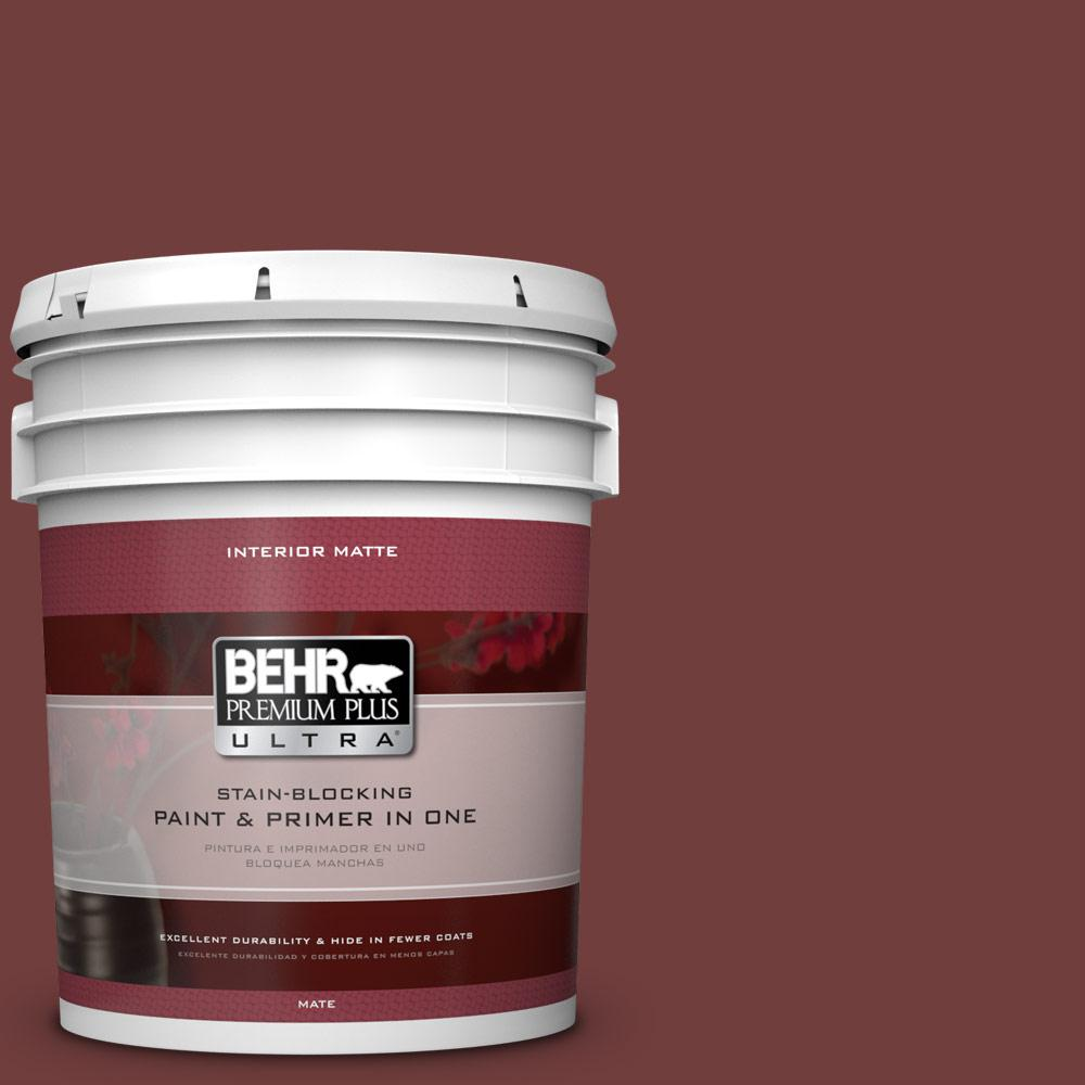 BEHR Premium Plus Ultra 5 gal. #ECC-27-1 Red Pines Matte Interior Paint and Primer in One