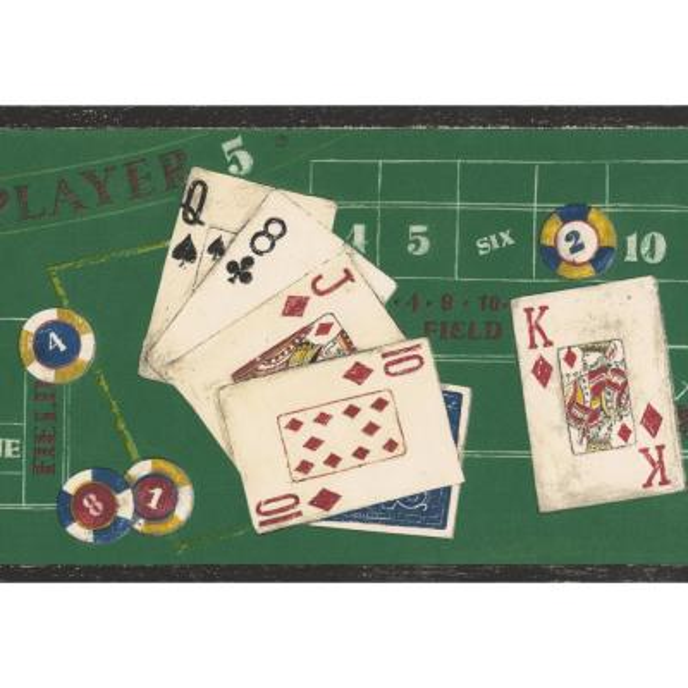 Poker Green Casino Table Poker Cards Chips Prepasted Wallpaper Border