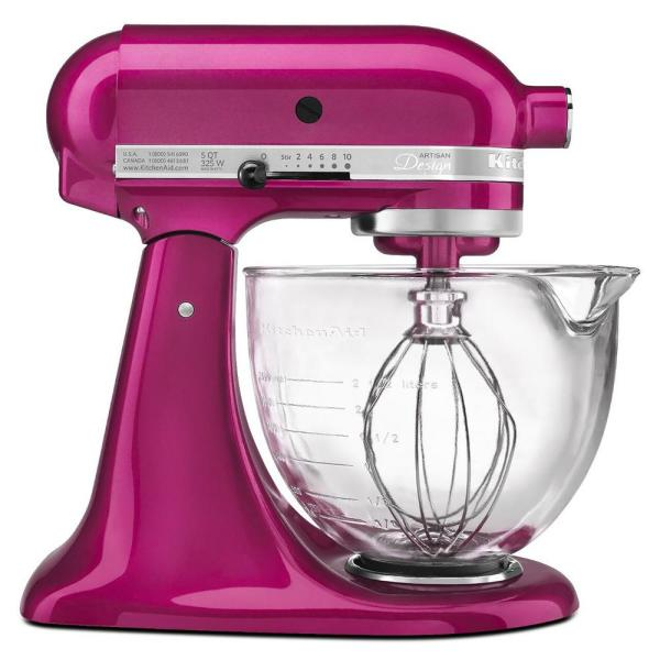 Artisan Designer 5 Qt. 10-Speed Raspberry Ice Stand Mixer with Glass Bowl
